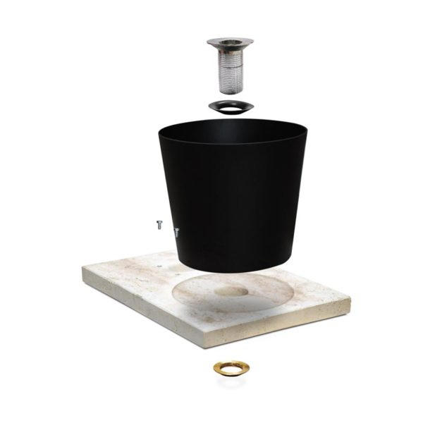 Basamento effetto travertino con vaschetta componenti